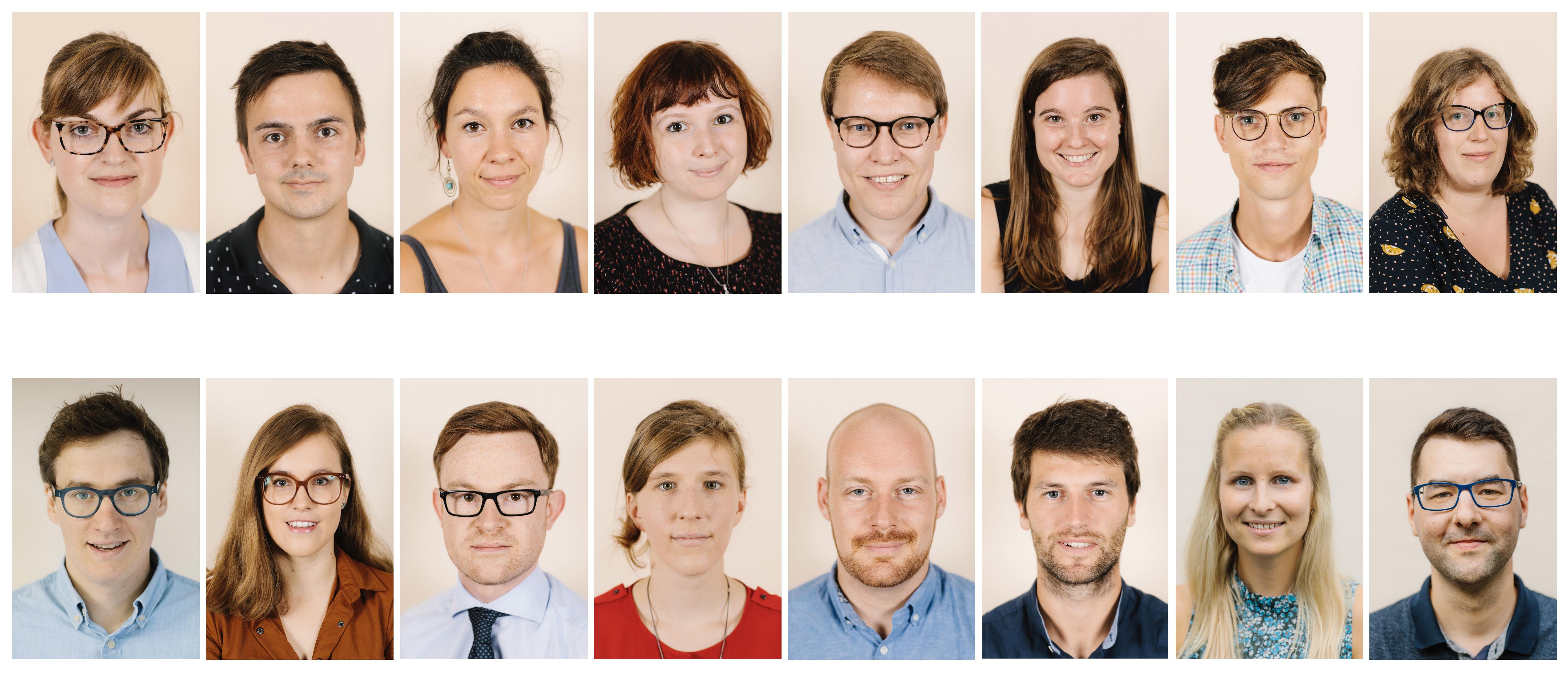 De 16 deelnemers van de Vlaamse PhD Cup 2019
